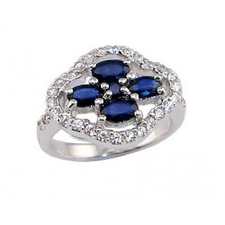 """Sudraba gredzens ar safīru """"Aleksandrija"""" no 925 proves sudraba"""