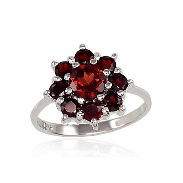 "Sudraba gredzens ar granātu ""Granāta Zieds"" no 925 proves sudraba"