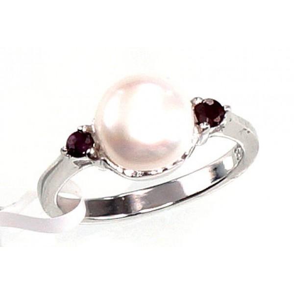 """Sudraba gredzens ar pērlēm """"Notika"""" no 925 proves sudraba"""