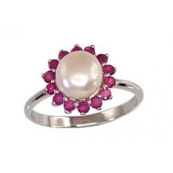 """Sudraba gredzens ar pērlēm """"Maigums III"""" no 925 proves sudraba"""