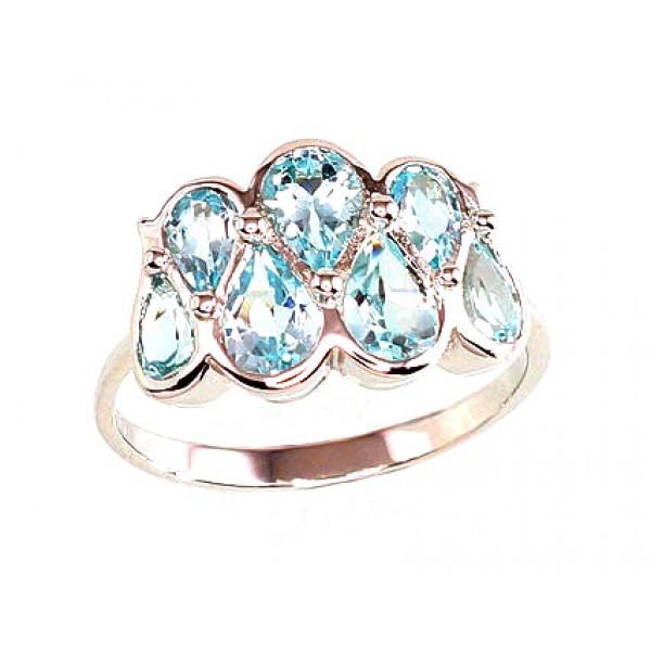 "Sudraba gredzens ar topāzu ""Luīza"" no 925 proves sudraba"