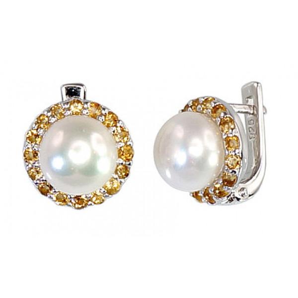 "Sudraba auskari ar pērlēm ""Maigums V"" no 925 proves sudraba"