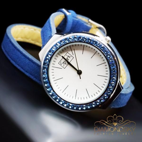 """Rokas pulkstenis """"Luksers (Denim Blue)"""" ar Swarovski™ kristāliem"""