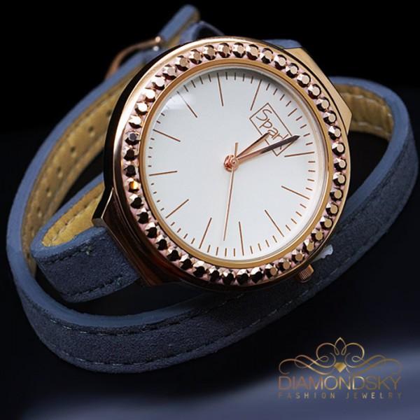 """Rokas pulkstenis """"Luksers (Golden Shadow)"""" ar Swarovski™ kristāliem"""