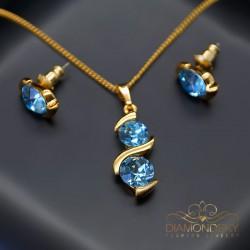"""Komplekts """"Piena Ceļš (Aquamarine Blue)"""" ar Swarovski™ kristāliem"""