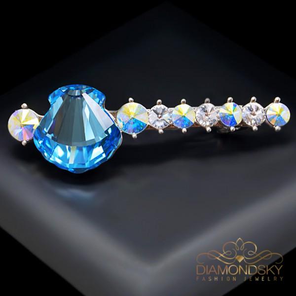 """Matu sprādze """"Kristalīna (Aquamarine Blue)"""" ar Swarovski™ kristāliem"""