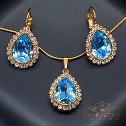 """Komplekts """"Debesu Piliens (Aquamarine Blue)"""" ar Swarovski™ kristāliem"""