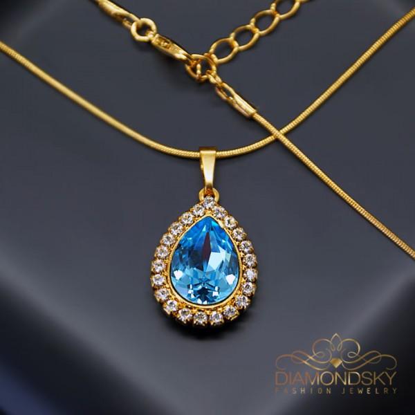 """Kulons """"Debesu Piliens (Aquamarine Blue)"""" ar Swarovski™ kristāliem"""