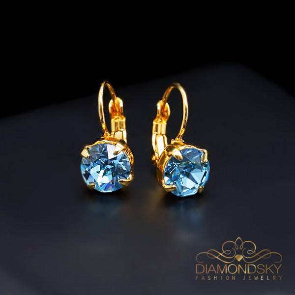 """Auskari """"Krāšņums (Aquamarine Blue)"""" ar Swarovski™ kristāliem"""