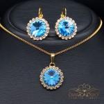 """Komplekts """"Klaris (Aquamarine Blue)"""" ar Swarovski™ kristāliem"""