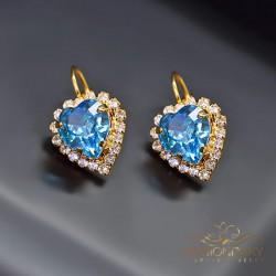 "Auskari ""Okeāna Sirds (Aquamarine Blue)"" ar Swarovski™ kristāliem"