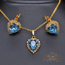 "Komplekts ""Okeāna sirds (Aquamarine)"" ar Swarovski™ kristāliem"