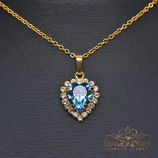 "Kulons ""Okeāna Sirds (Aquamarine Blue)"" ar Swarovski™ kristāliem"