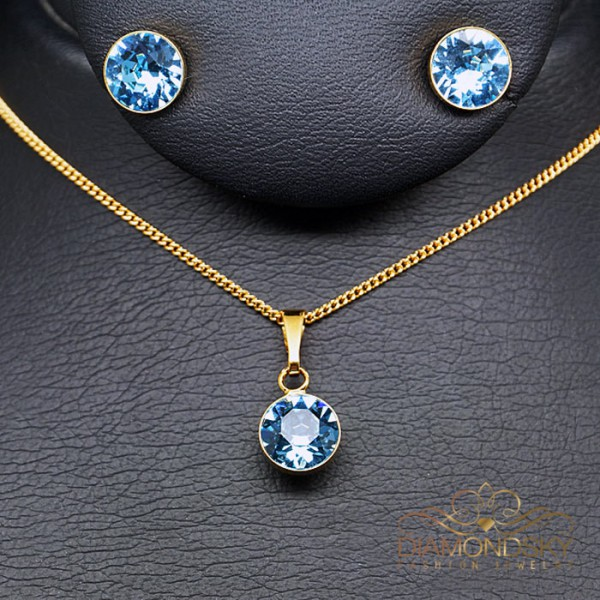 "Komplekts ""Klasika (Aquamarine Blue)"" ar Swarovski™ kristāliem"