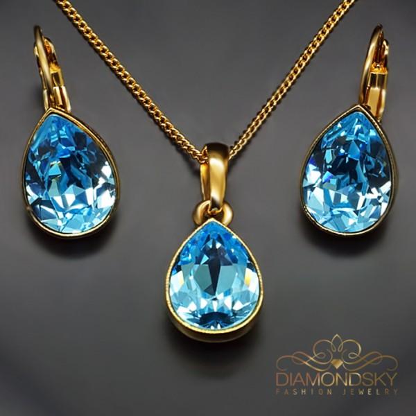 """Komplekts """"Kristāla Lāse (Aquamarine Blue)"""" ar Swarovski™ kristāliem"""