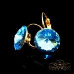 """Auskari """"Klaris II (Aquamarine Blue)"""" ar Swarovski™ kristāliem"""