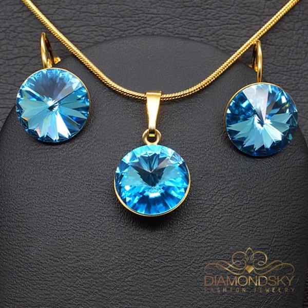 """Komplekts """"Klaris II (Aquamarine Blue)"""" ar Swarovski™ kristāliem"""