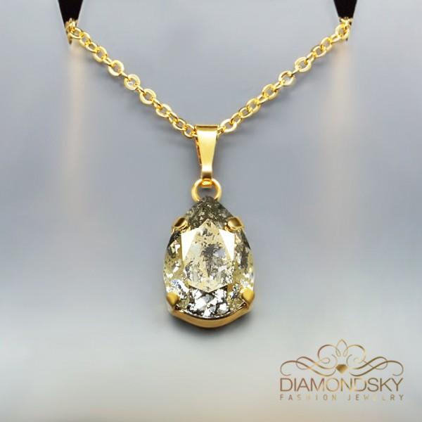 """Kulons """"Venēra II (Gold Patina)"""" ar Swarovski™ kristāliem"""