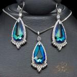 """Komplekts """"Eņģeļa Asara (Bermuda Blue)"""" ar Swarovski™ kristāliem"""
