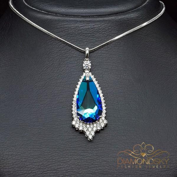 """Kulons """"Eņģeļa Asara (Bermuda Blue)"""" ar Swarovski™ kristāliem"""