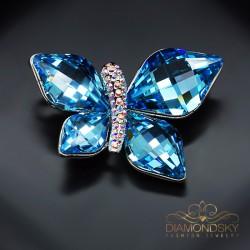 "Broša ""Debesu Taurenis (Aquamarine Blue)"" ar Swarovski™ kristāliem"