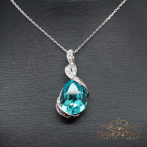 "Kulons ""Lagūna III (Light Turquoise)"" ar Swarovski™ kristāliem"