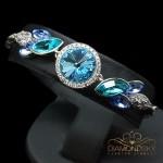 """Aproce """"Paradīzes Zieds (Aquamarine Blue)"""" ar Swarovski™ kristāliem"""