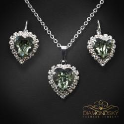 """Komplekts """"Okeāna sirds (Black Diamond)"""" ar Swarovski™ kristāliem"""