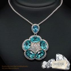 """Kulons """"Gaišzils Ziediņš (Aquamarine Blue)"""" ar Swarovski™ kristāliem"""