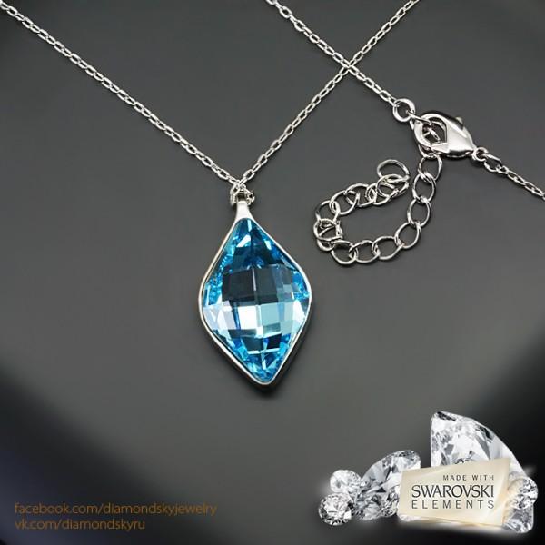 """Kulons """"Kristāla Rombs (Aquamarine Blue)"""" ar Swarovski™ kristāliem"""