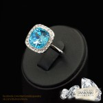 "Gredzens ""Bella II (Aquamarine Blue)"" ar Swarovski™ kristāliem"