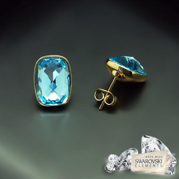 "Auskari ""Luksors II (Aquamarine Blue)"" ar Swarovski™ kristāliem"