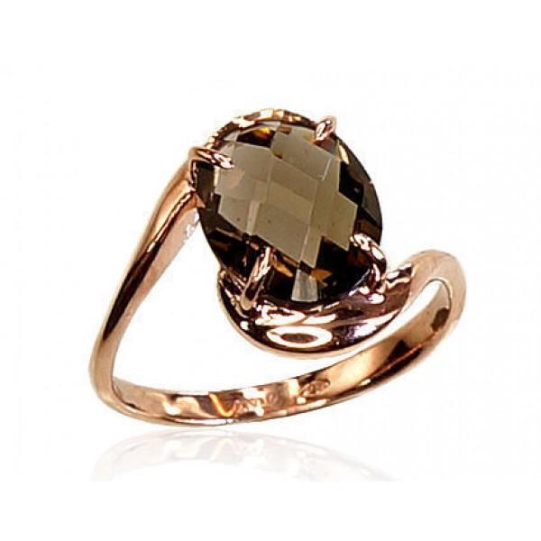 """Zelta gredzens ar dūmakaino kvarcu """"Komēta IX"""" no 585 proves sarkanā zelta"""