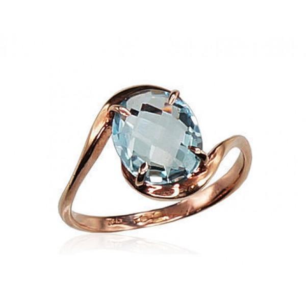 """Zelta gredzens ar topāzu """"Komēta IX"""" no 585 proves sarkanā zelta"""