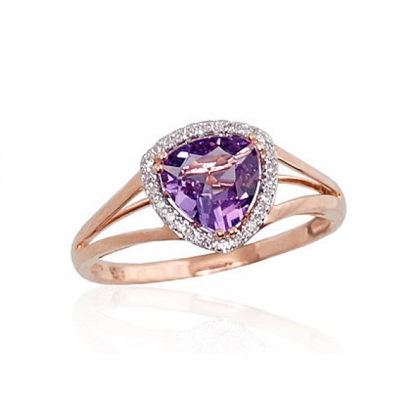 "Zelta gredzens ar briljantiem ""Princese III"" no 585 proves sarkanā zelta"
