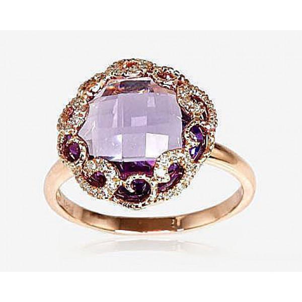 "Zelta gredzens ar briljantiem ""Anri"" no 585 proves sarkanā zelta"