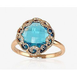 "Zelta gredzens ar briljantiem ""Anri II"" no 585 proves sarkanā zelta"