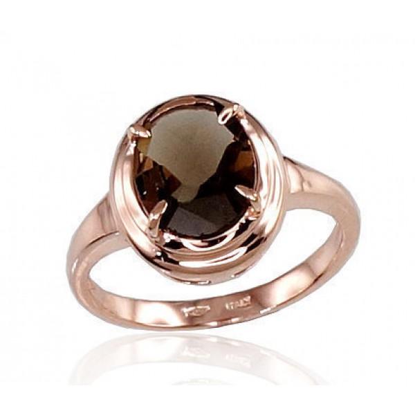 "Zelta gredzens ar dūmakaino kvarcu ""Diana"" no 585 proves sarkanā zelta"