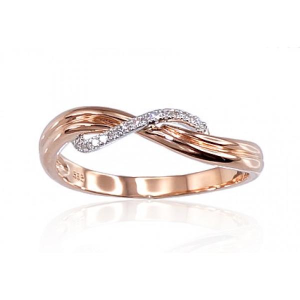 "Zelta gredzens ar briljantiem ""Zelta Vilnis V"" no 585 proves sarkanā zelta"
