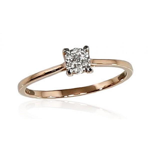 """Zelta gredzens ar briljantiem """"Jaunā Klasika IV"""" no 585 proves sarkanā zelta"""