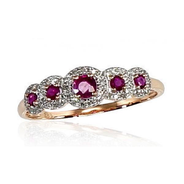 """Zelta gredzens ar briljantiem """"Dženija VI"""" no 585 proves sarkanā zelta"""