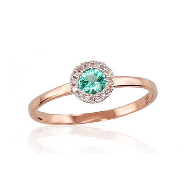 """Zelta gredzens ar briljantiem """"Burvība VI"""" no 585 proves sarkanā zelta"""