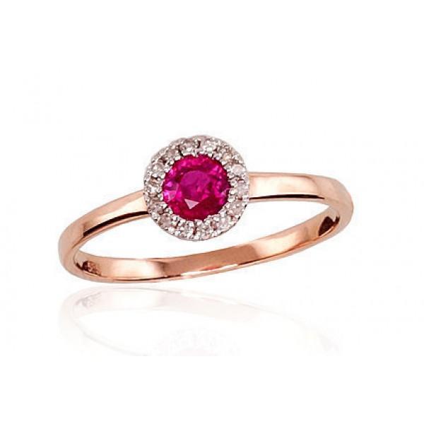 "Zelta gredzens ar briljantiem ""Burvība V"" no 585 proves sarkanā zelta"