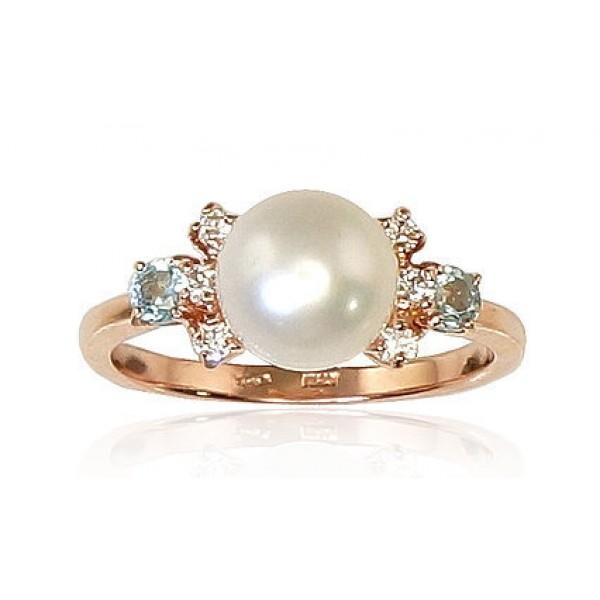 """Zelta gredzens ar pērlēm """"Notika IV"""" no 585 proves sarkanā zelta"""