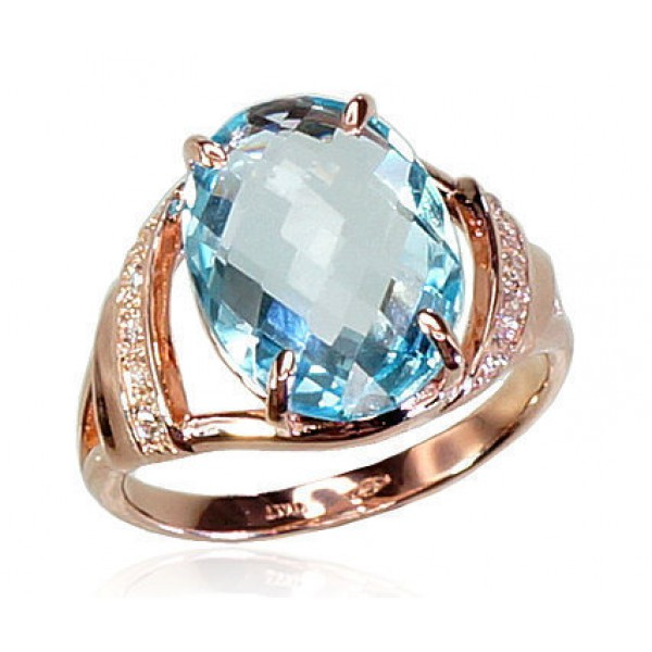 "Zelta gredzens ar topāzu ""Debesu Topāzs II"" no 585 proves sarkanā zelta"