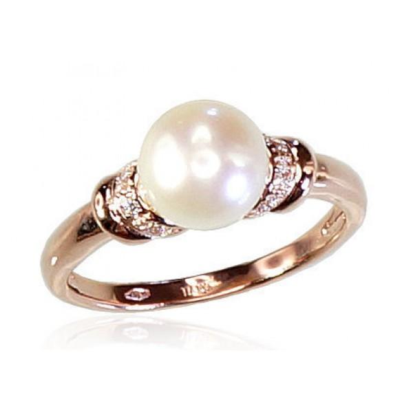 """Zelta gredzens ar pērlēm """"Dvēseles Spogulis IV"""" no 585 proves sarkanā zelta"""