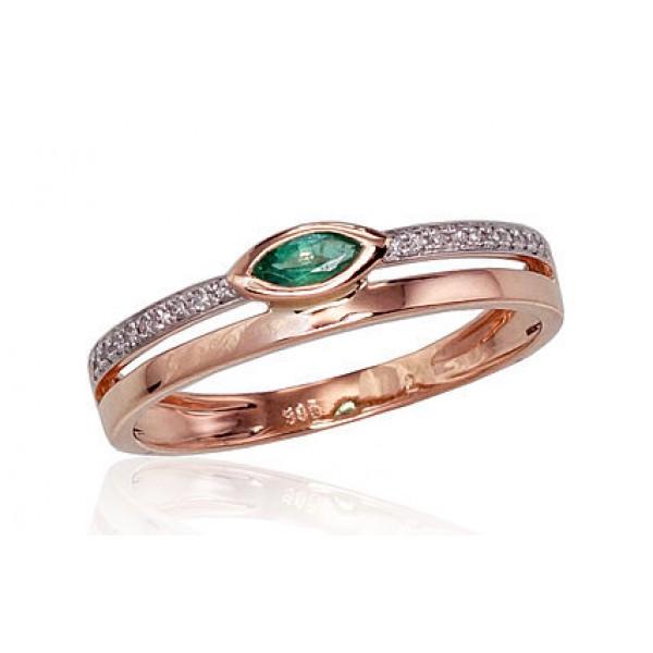 """Zelta gredzens ar briljantiem """"Debesu Velte III"""" no 585 proves sarkanā zelta"""