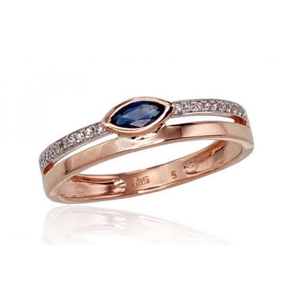 "Zelta gredzens ar briljantiem ""Debesu Velte V"" no 585 proves sarkanā zelta"