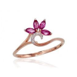 "Zelta gredzens ar briljantiem ""Kristalīts V"" no 585 proves sarkanā zelta"