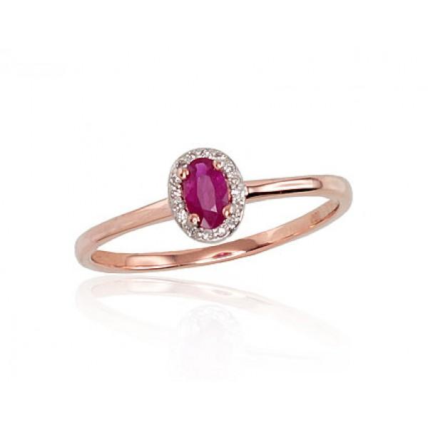 """Zelta gredzens ar briljantiem """"Izsmālcinātība V"""" no 585 proves sarkanā zelta"""